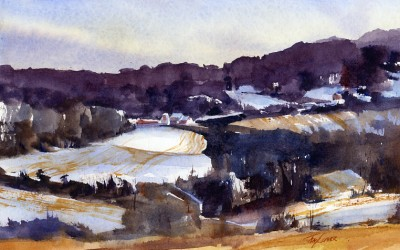 """Dusting To An Inch"" – watercolor en plein air landscape painting"