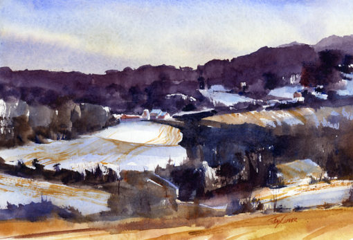 Lay Of The Land - en plein air watercolor landscape by Tony Conner