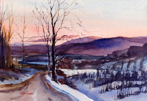 Over The Orchards - watercolor en plein air painting by Tony Conner