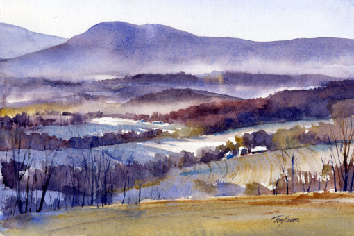 Shadow & Mist - en plein air watercolor painting by Tony Conner