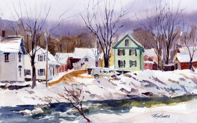 """Factory Street, Back End"" – winter en plein air landscape scene"