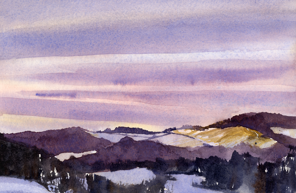 """One Twenty Three"" – watercolor en plein air landscape painting"