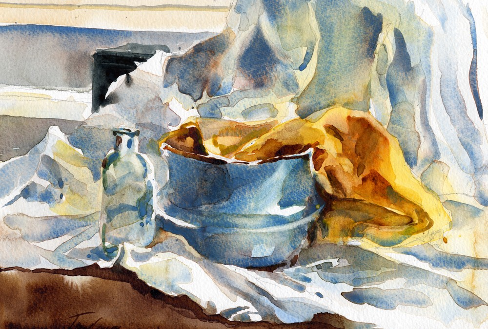 """Cerulean Study"" – watercolor still life painting"