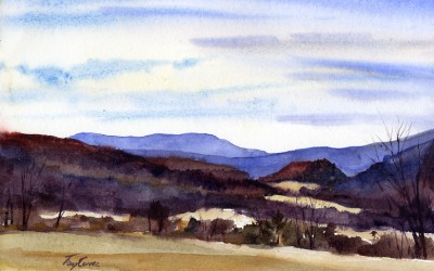 """Little Hill"" – en plein air watercolor landscape painting"