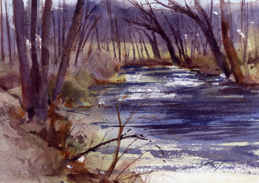 Early Spring On The Battenkill - en plein air watercolor landscape by Tony Conner