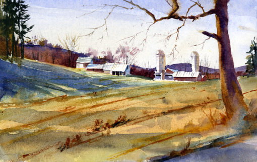 State Line Road - watercolor en plein air painting by Tony Conner