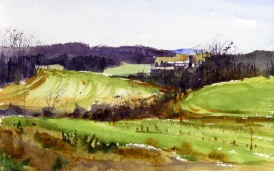 """Gulley"" – spring landscape watercolor painting"