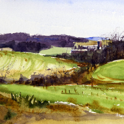 Gulley - watercolor en plein air landscape painting by Tony Conner