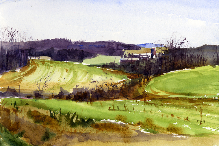 """Gulley"" – spring landscape watercolor painting 