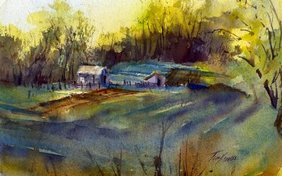 """Small Farm, Early Morning"" – watercolor en plein air landscape painting of spring"