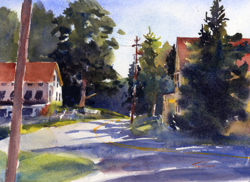 In Weston - en plein air watercolor landscape painting by Tony Conner