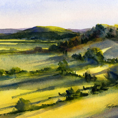 Setting Sun - en plein air watercolor landscape painting by Tony Conner