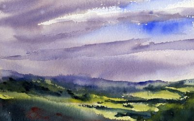 Sun & Rain – en plein air watercolor landscape painting