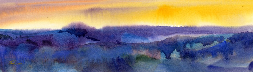 """Sunset I"" – watercolor interpreted landscape"