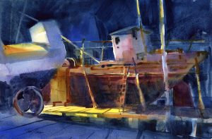 Dry Dock At Night - watercolor nautical painting by Tony Conner