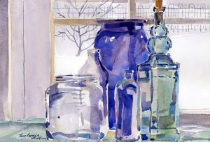 Studio Glass watercolor still life painting by Tony Conner