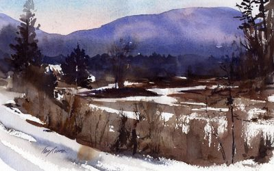 """Marsh and Snow"" – watercolor en plein air landscape painting"