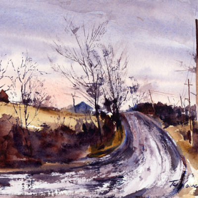 Almost No Snow - watercolor en plein air landscape painting by Tony Conner