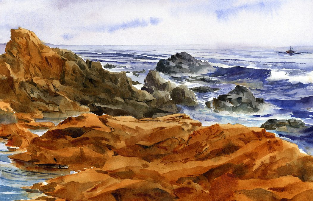 """Cape Ann"" – watercolor en plein air seascape painting"