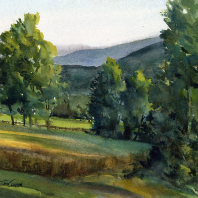 High Meadows - en plein air watercolor landscape painting by Tony Conner