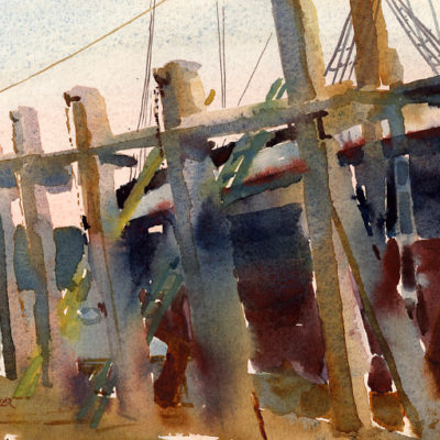 Starboard Side - en plein air watercolor seascape nautical painting by Tony Conner