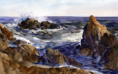Surf At Bass Rocks – en plein air watercolor seascape painting