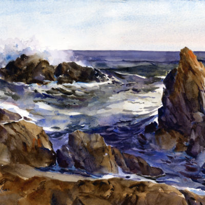Surf At Bass Rocks - en plein air watercolor seascape painting by Tony Conner