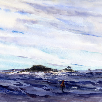 Tucks Point Afternoon - original en plein air watercolor landscape painting by Tony Conner