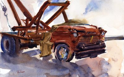 Working Jimmy – original en plein air watercolor painting