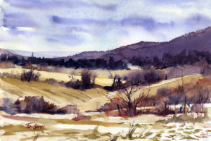 Christmas Eve Morning - en plein air watercolor landscape painting by Tony Conner