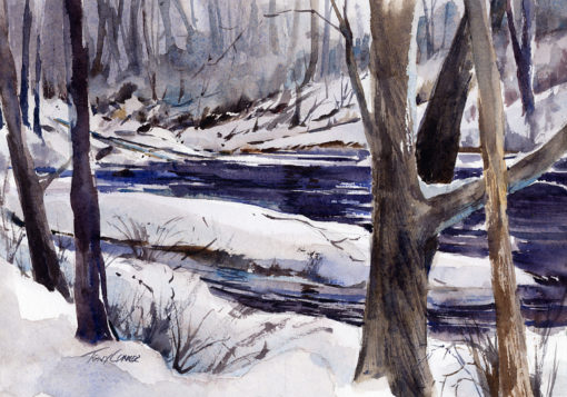 One For Winter - en plein air watercolor landscape painting by Tony Conner