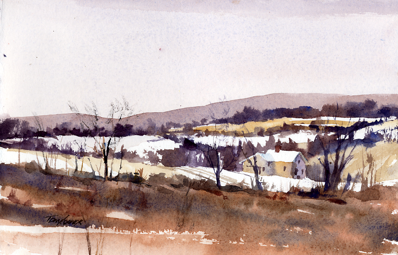 The Beginning - en plein air watercolor landscape painting by Tony Conner
