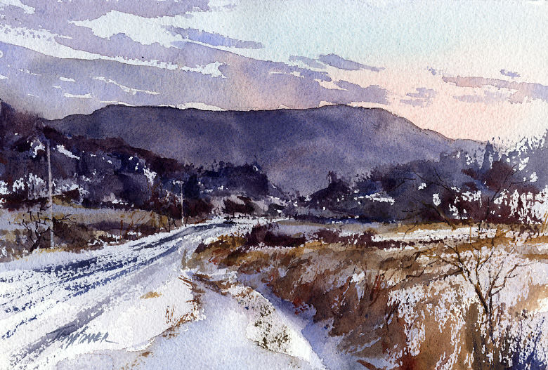 A Little Before Sunrise – en plein air watercolor winter landscape painting