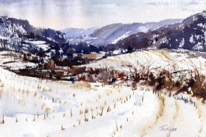 Breese Hollow - watercolor en plein air landscape painting by Tony Conner