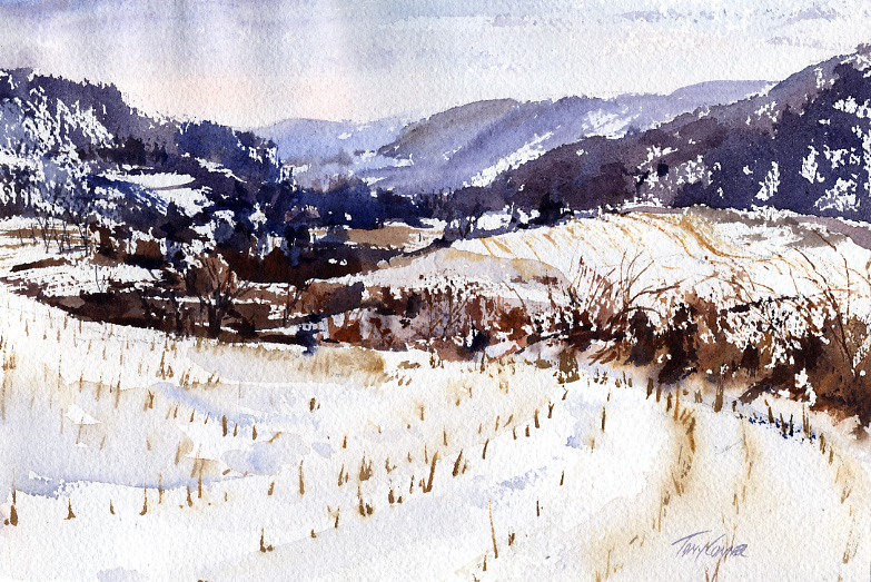 Breese Hollow – en plein air watercolor winter landscape painting