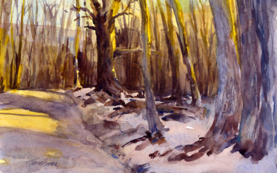 Late In The Day – en plein air watercolor winter landscape painting