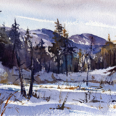 Low Land - en plein air watercolor landscape winter scene by Tony Conner