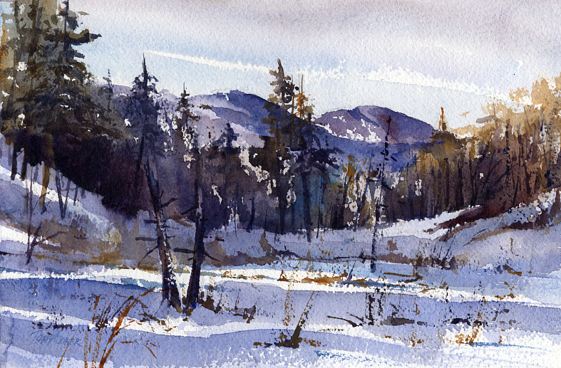 """Low Land"" – plein air winter watercolor landscape painting"