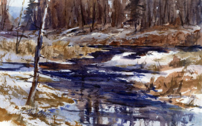 Lowland Reflections – en plein air watercolor winter landscape painting