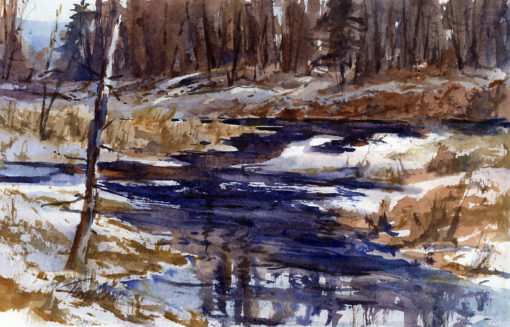 Lowland Reflections - en plein air watercolor winter landscape painting by Tony Conner