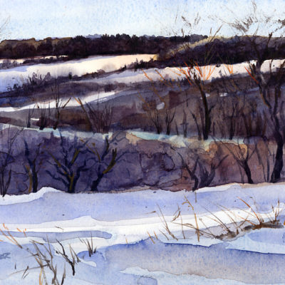 Near Fields And Far - en plein air watercolor winter landscape painting by Tony Conner
