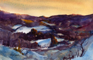 Snow Hills In January - en plein air watercolor landscape winter scene by Tony Conner