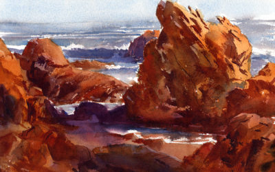 """Bass Rocks, Afternoon Light"" – en plein air watercolor seascape painting"