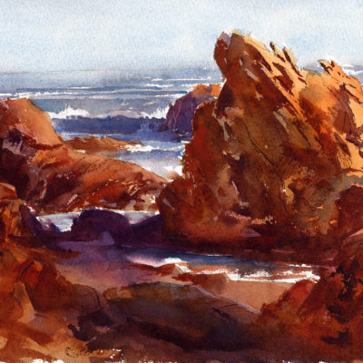 BassRocks_AfternoonLight - en plein air watercolor seascape painting by Tony Conner