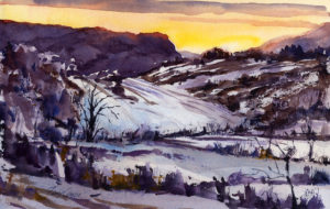 February Fields - en plein air watercolor landscape winter scene by Tony Conner