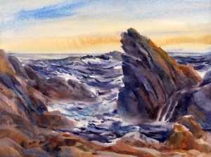 Gathering Tide - watercolor seascape painting of rocks and ocean by Tony Conner