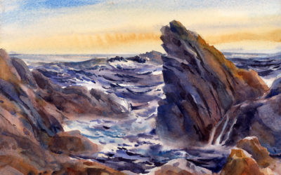 Gathering Tide – watercolor seascape painting