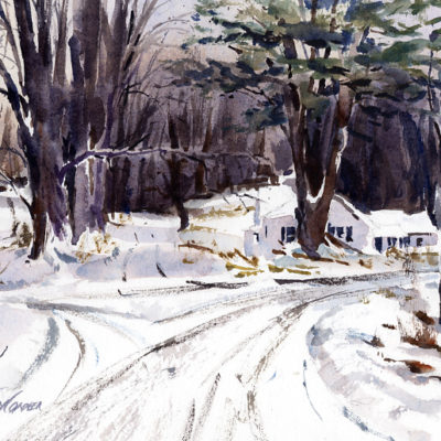 Which Way - en plein air watercolor winter landscape painting by Tony Conner