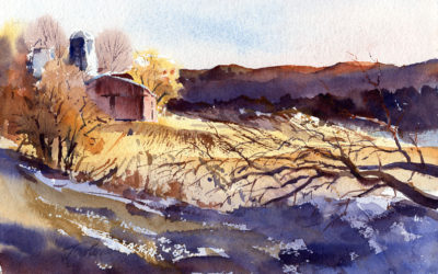 Winter Warmth – en plein air watercolor winter landscape painting