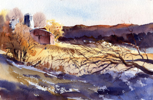 Winter Warmth - en plein air watercolor winter landscape painting by Tony Conner